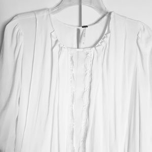 Free People Tunic Top White Size XS Lace Boho Poet